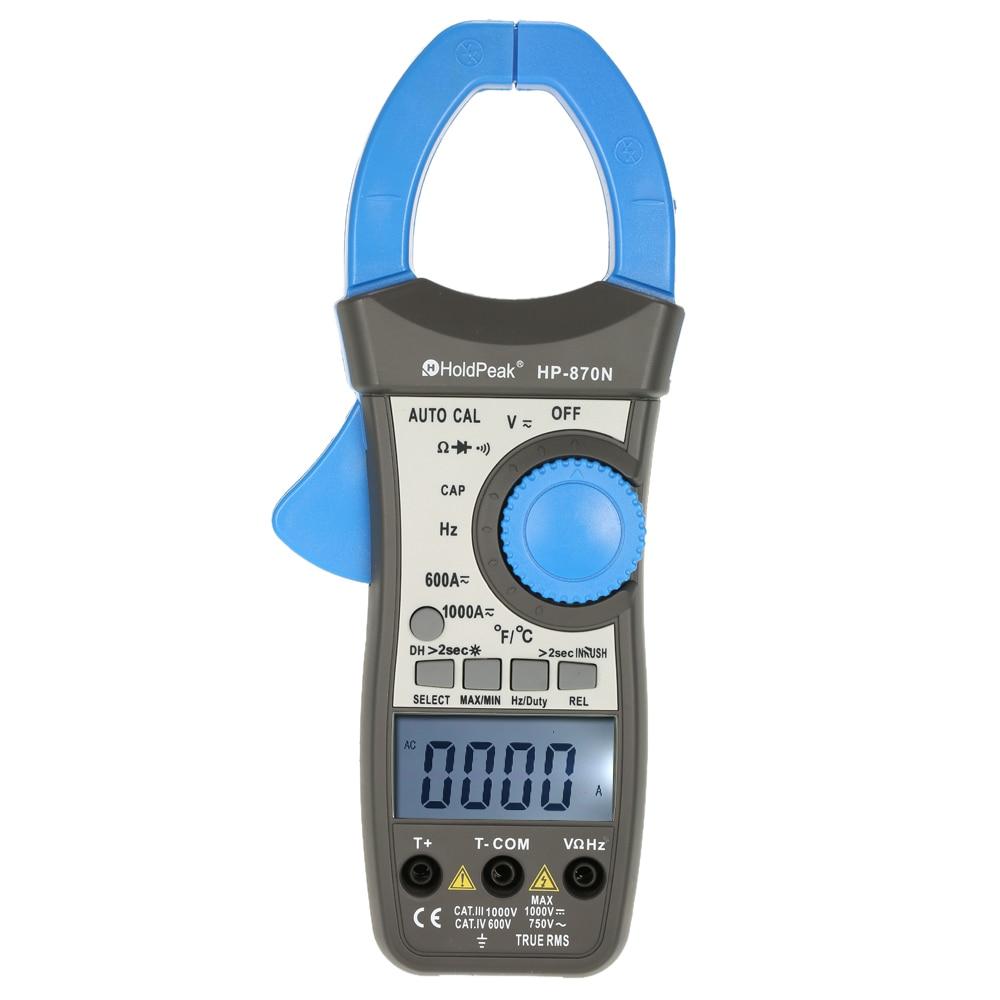 Pinza amperimetrica HP-870N Clamp Meter Multímetro digital data show amperímetro multimetro pinça de corrente do medidor de capacitância