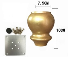 4Pieces/Lot Height:10CM  European American Imitation Gold Solid Wood Sofa Cabinet Feet Gourd leg Furniture Fittings
