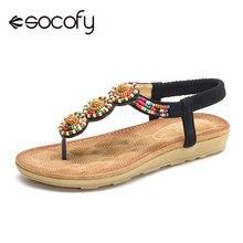 518af1dc8 Socofy Vintage T cinta-Sandálias Slingback Mulheres Deslizamento Em Sapatas  de Verão Elástico Chinelos Sapatos