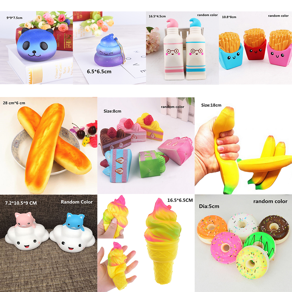 Anti-stress Cute Squishy Charm Slow Rising Unicorn Squishes Galaxy Panda Peach Squishi Banana Poo Tooth Cake Cream PU Toy Kawaii