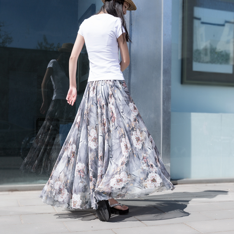 Summer Skirts Womens 2017 Summer Bohemian Floral Printed Pleated Maxi Skirt Chiffon Women Holiday Beach Long Skirt все цены