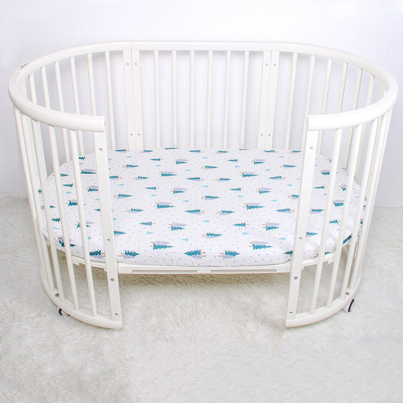 Cotton Crib Fitted Sheet Soft Breathable Baby Bed Mattress Cover Potector Cartoon Newborn Bedding For Bedside Size 130 * 70cm