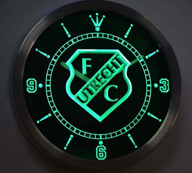 nc1007 FC Utrecht Football Club Eredivisie Neon Sign LED Wall Clock