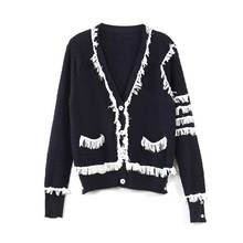 cardigan wool sweater women's spring autumn Russian fashion high quality classic knitted tassel cardigan sweater