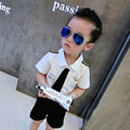 2017 Verão Nova Moda Pilotos Estilo Uniforme Conjunto de Roupas Infantis Meninos 2 pcs Crianças T-shirt + Shorts Costume