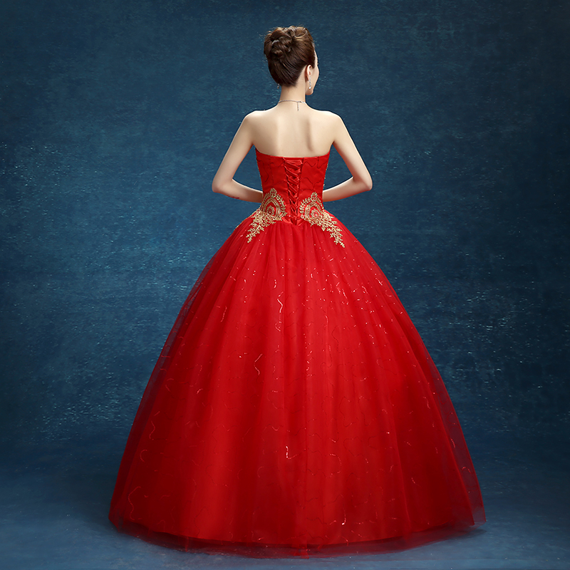 Fashion Real Photo Princess Embroidery Gold Red Wedding Dress 2019 Vestido De Noiva Bride Dress Cheap Romantic Bride Dress 627 May 2020,Most Iconic Wedding Dresses