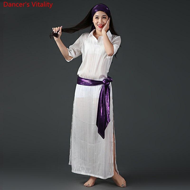 2018 pas cher nouveau spectacle de danse du ventre Costume 4 pièce ensemble danse du ventre danse orientale Costume Robe bande de cheveux ceinture blanc