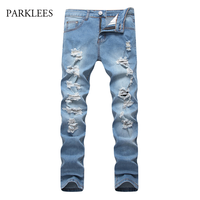 Sky Blue Ripped Jeans Men 2017 Autumn Brand Hip Hop Mens