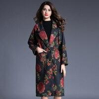 Vintage Winter Coats Women Floral Turn Down Collar Casaco Feminino Plaid Pattern Print Large Size Pockets