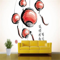 Photo Wallpapers for Walls 3D Modern Murals Red Lanterns Wallpapers Hand Painting Murals Home Decorative for Cafe TV Living Room