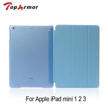 TopArmor роскошный чехол-подставка из искусственной кожи для ipad mini 2 с прозрачной смарт-задней крышкой для Apple ipad mini 1 2 3