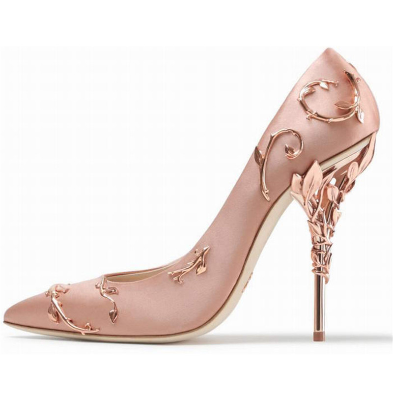 2018 Luxury Satin High Heel Shoes Woman Pointed Toe Metal Flower Heeled  Pumps Fashion Stiletto Women Wedding Shoes d2ced617a4b2