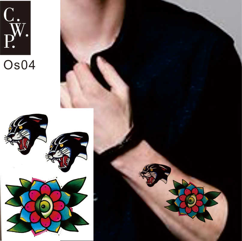 Os04 2 Pieces Old School Cheetah Head And All Seeing Eye Flower Pattern Temporary Tattoo Best Body Art