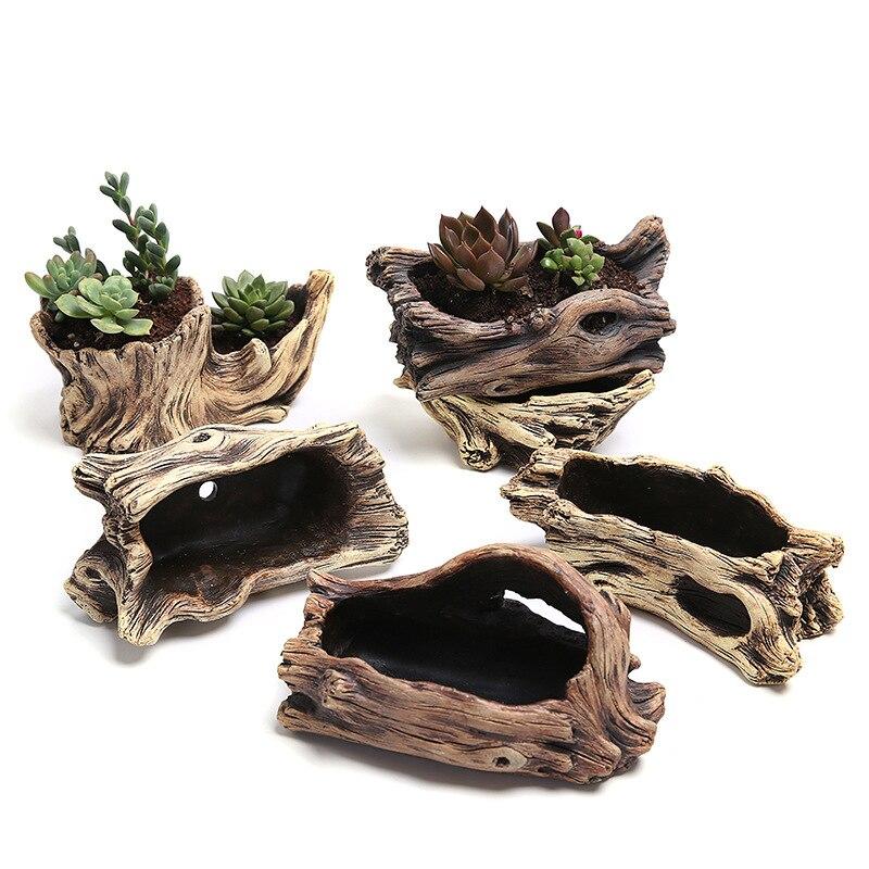 Modern Style Creative Antique Wooden Flower Planters for Succulents Imitation Wood Cement Garden Flowerpot Wood-Like Home Garden