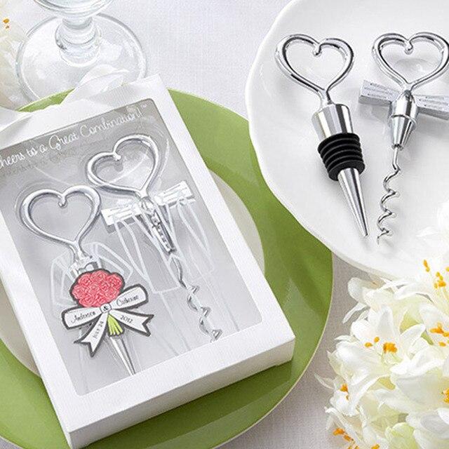 Love Heart Corkscrew Wine Bottle Opener + Wine Stopper Wedding Gift Favors Bottle Opener Set Wedding Decor Favors Wine Stopper