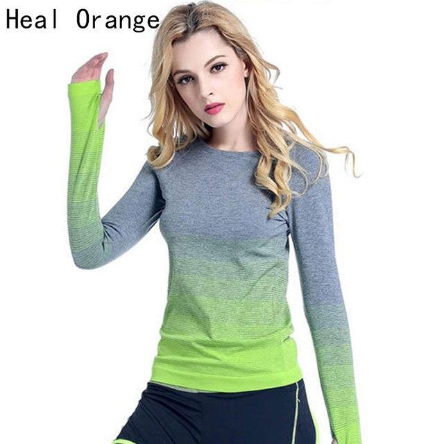 HEAL ORANGE Women Yoga Shirts Long Sleeve Sweatshirt Quick Dry Sport Jacket For Fitness Gym Shirt Female Jogging Dry Fit Women