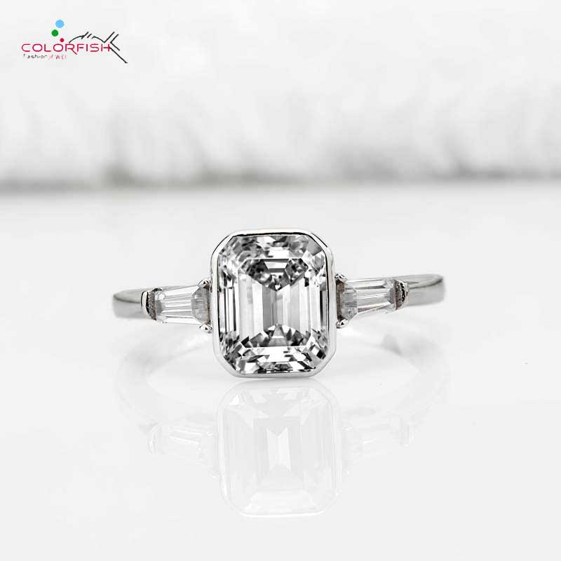 COLORFISH Rose Gold Color Solid 925 Silver Three Stone Engagement Ring Anniversary Wedding Jewelry For Women 2 Carat Square Ring