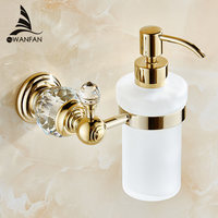Luxury Crystal Wall Mounted Liquid Soap Dispenser With Gold Finish Frosted Glass Container Bottle Bathroom Accessories