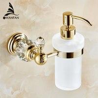 Vender Dispensadores de jabón líquido dispensador de jabón de colores dorado de lujo montado en la pared con botella de vidrio esmerilado productos de baño HK-38