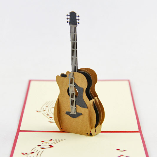 Acoustic Guitar Pop Up Card Birthday Music Lovers Instrument