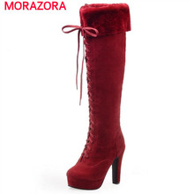 MORAZORAผู้หญิงรองเท้าแพลตฟอร์มบู๊ทส์ในช่วงฤดูหนาวใหม่มาถึงรองเท้าสูงเข่าnubuckหนังขนาดใหญ่ขนาด34-43สูงตารางส้นคลาสสิก