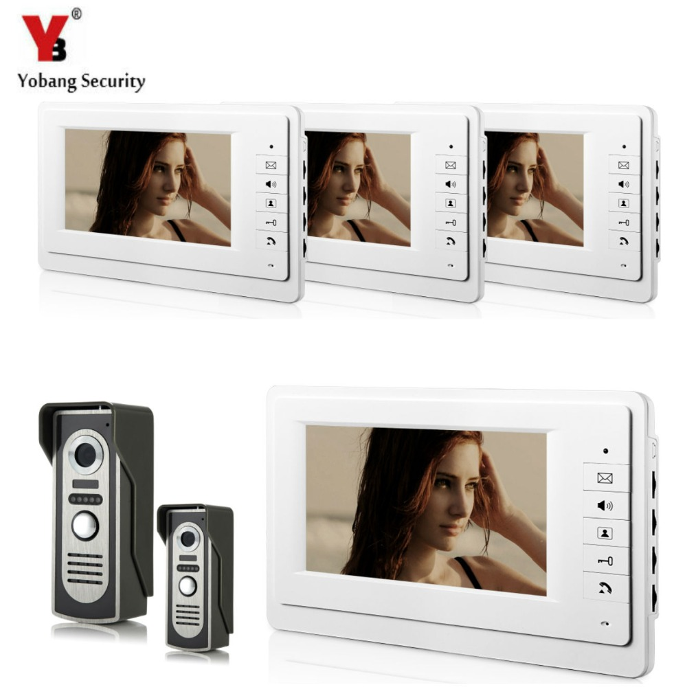 YobangSecurity 7 Inch Wired Video Door Entry System Home Security Camera Video Door Intercoms 2-camera 4-monitor Night Vision