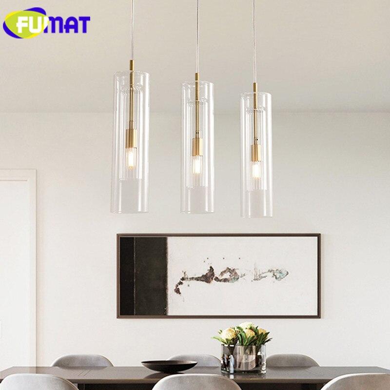 FUMAT Modern Pendant Lamps Copper Glass pendant lights LED Living Room  Hanglamp Loft hanging light fixture Dining room Lamp