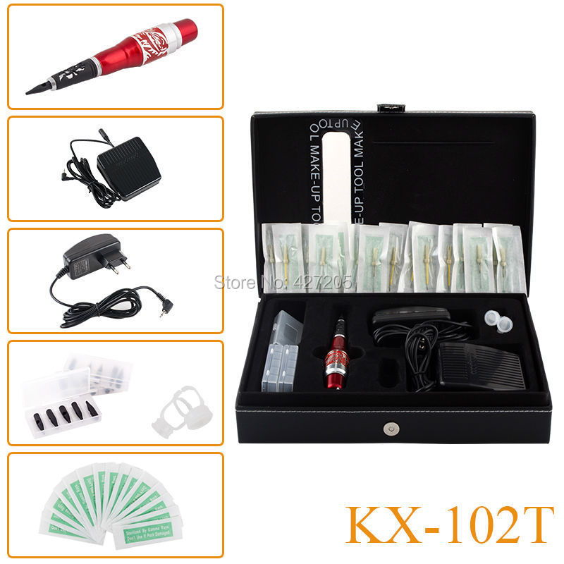 New KX-102T Top Professional Permanent Makeup Machine Tattoo Kit Red Dragon Machine Pen Needles Tips Power Supply Free Shipping