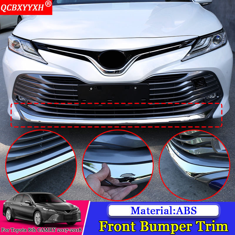 QCBXYYXH Car Front Bottom Bumper Molding Grill Trim Front Bumper Lip Cover Strip Auto Accessories For Toyota 8th Camry 2017 2018 цена