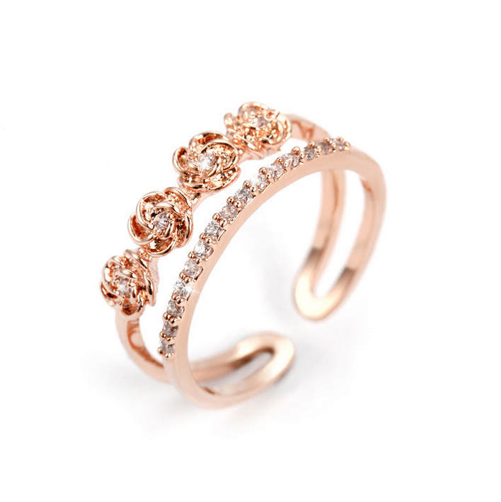 Korean rose open moissanite gold ring new design ladies finger ...