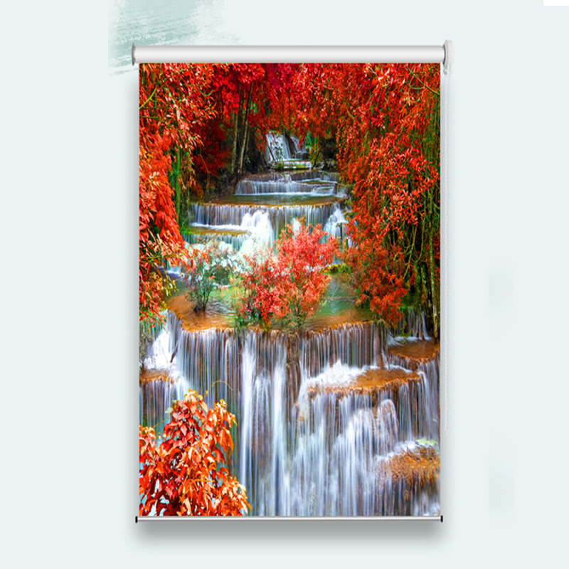 3D Volume Curtains Custom Made Shade Volume Curtains Red Maple Leaf Waterfall Bed Room Living room Office Hotel Roll Curtains