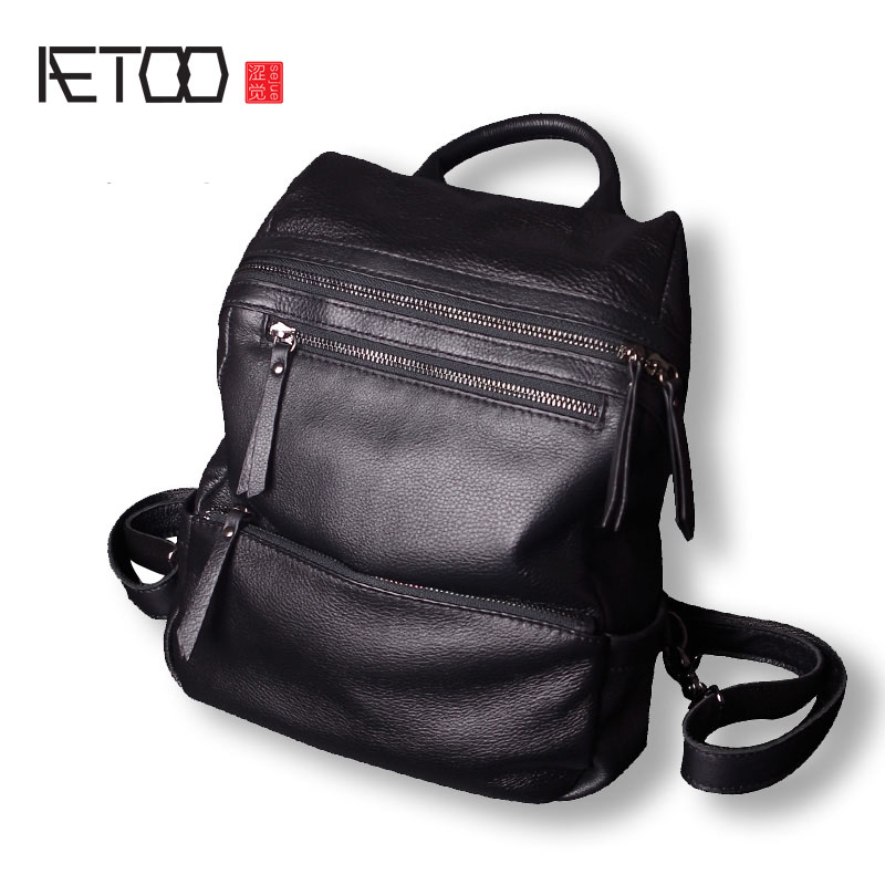 AETOO Girls leather shoulder bag new casual tide head layer of cowboy wild soft leather bag backpack aetoo leather mini shoulder bag female small backpack head layer of leather casual 2017 new korean version of the wild tide pack