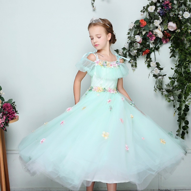 Luxury Floral Princess Girls Dresses 2018 New Flower Dress Shoulderless Girl Evening Prom Long Dress Children Pageant Gown D73Luxury Floral Princess Girls Dresses 2018 New Flower Dress Shoulderless Girl Evening Prom Long Dress Children Pageant Gown D73