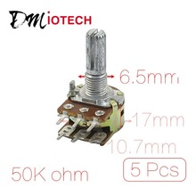 5 Pcs B50K 50K ohm 6 Pins Split Shaft Rotary Linear Dual Taper Potentiometers цены