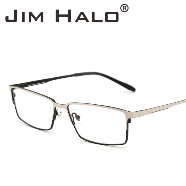 735afafbc019 Jim Halo Non-Prescription Optical Glasses Metal Frame Spring Hinge RX-able  Eyeglasses Clear Lens Men