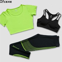 Brand Women S Tracksuits Yoga Sets Breathable Sport Suit Fitness Gym Running Set Yoga Shirt Top