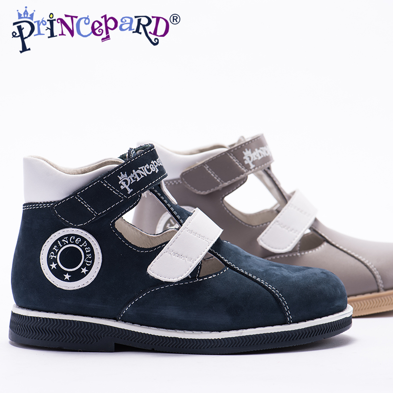 Princepard 2018 New summer orthopedic sandals for boys microfiber shoes gray navy orthopedic shoes pig leather