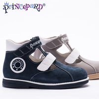 Princepard 2018 New summer orthopedic sandals for boys microfiber shoes gray navy orthopedic shoes pig leather lining insoles