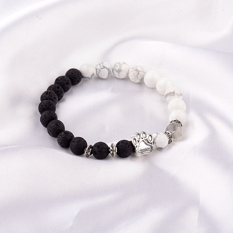 11 Colors 8mm Natural Stone Beads <font><b>Bracelets</b></font> <font><b>Dog</b></font> Cat Footprint Silver Color <font><b>Paw</b></font> Charms <font><b>Bracelet</b></font> Pet Lovers Elastic Jewelry AB233 image