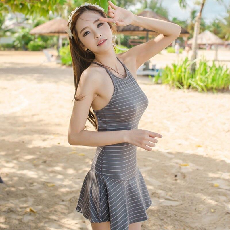 Top Quality Striped High Neck Retro Swimsuit Lady Female Sexy One Piece Swim Suits Beach Pool Bather Swimdress Swimwear