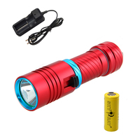 Waterproof 100M 1000 LM Scuba Diving XM L2 LED Flashlight Torch Light+26650+Charger