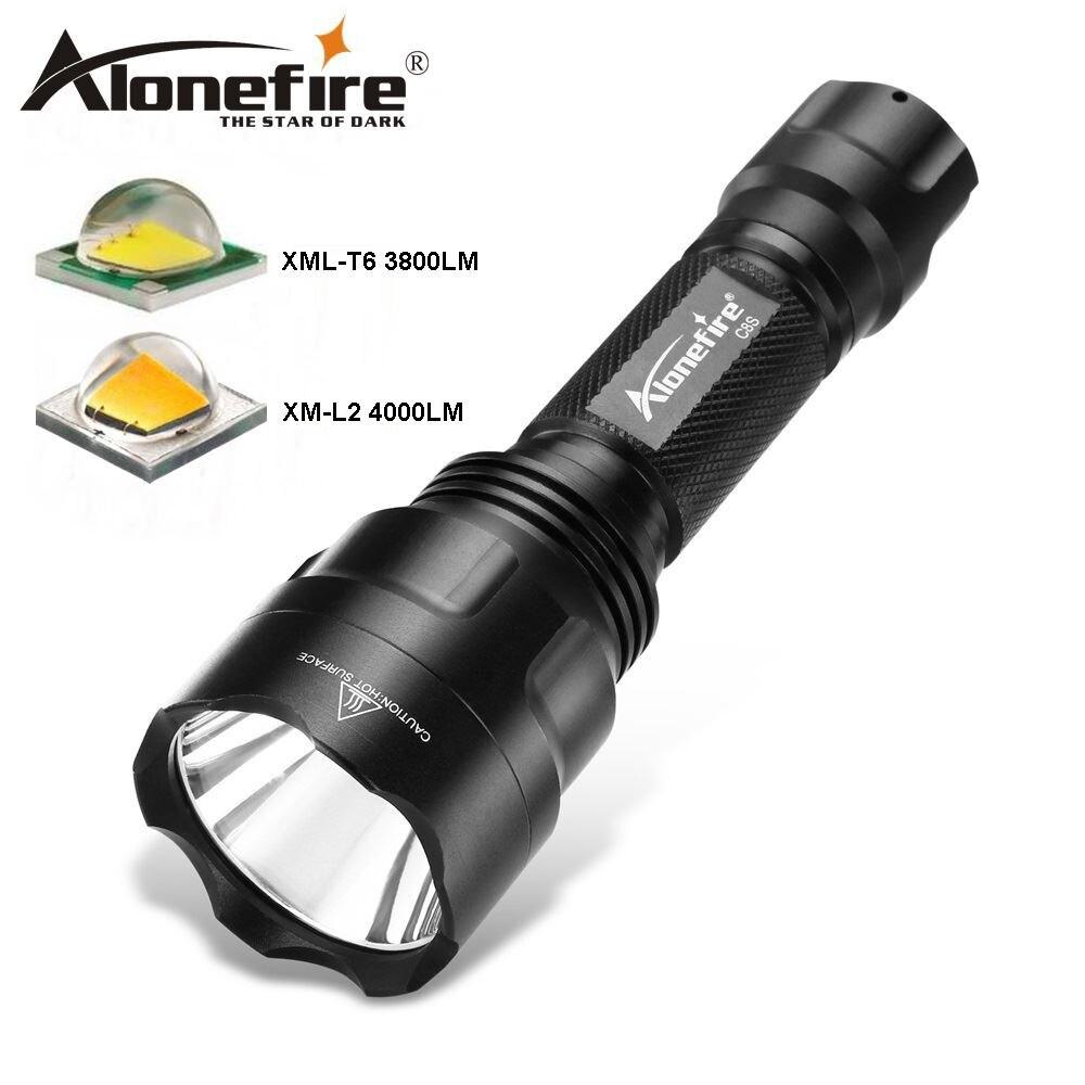 Alonefire c8 lanterna led 5000lm cree xml t6 l2 u3 lanterna tática à prova dtactical água acampamento caça caminhada lâmpada 18650 bateria