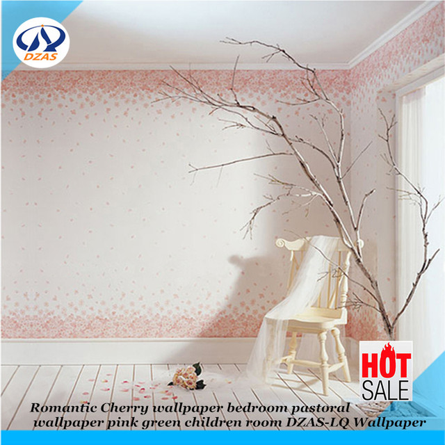 Romantische Kirsche Tapete Schlafzimmer Pastoralen Tapete Rosa Grün  Kinderzimmer DZAS LQ Tapete