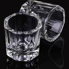 лучшая цена 1Pc Acrylic Nail Cup Clear Crystal Bowl Acrylic Powder Liquid Holder Dappen Dish Salon Equipment Nail Art Design Tool