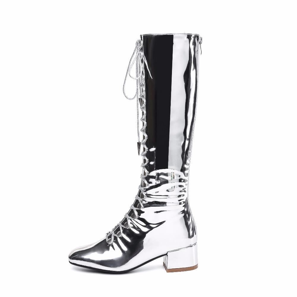 Genou Femmes Hauteur Bout Zip Cuir Femme Mode Med Verni Carré Noir argent Bottes Arrivée Carrés Noir Argent Nouvelle Chaussures À 2018 De Talons En Du kXuPZiO