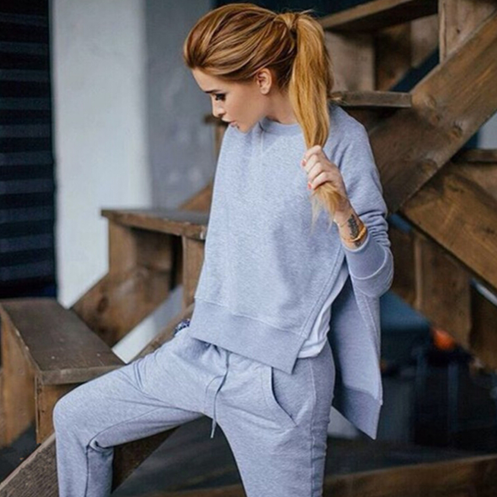 Autumn Tracksuit Long Sleeve Slit Solid Sweatshirts Casual Suit Women Clothing 2 Piece Set Tops+Pants Sporting Suit Female