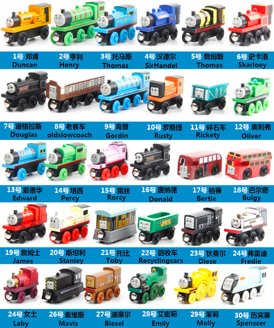 2017 NEW 10PCS/LOT New Thomas Anime Wooden Railway Trains Toy Model Great Kids Toys for Children Christmas Gifts