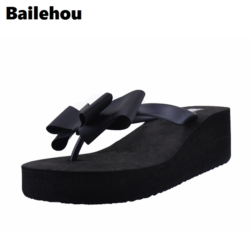 Bailehou Fashion Women Slippers Flip Flops Butterfly Knot Slides Casual Slip On Shoes Platform Beach Slipper Wedge Shoes Heel 6 women slippers ladies shoes slip on slider fluffy faux fur flat fashion female leopard slipper flip flop sandal zapatos mujer