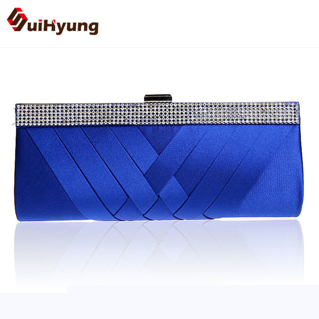 Free Shipping New Women's Satin Handbags Fashion Design Party Evening Bags Casual Clutch Bag Wedding Diamond Small Clutch Purse