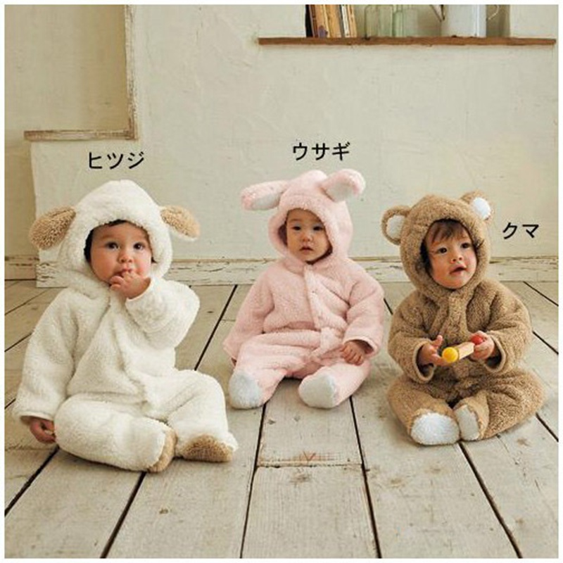 Cute Bunny Baby Animal Ear Hoodie Winter Overalls For Kids Romper Macacao Bebe Jumpsuit Newborn Baby Boy Clothes Infant Clothing bunny baby